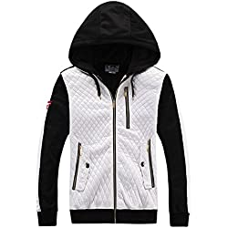 MADHERO Mens Fashion Hoodie Full Zip Hooded Sweatshirt White - Size M