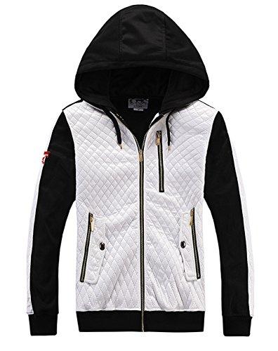 MADHERO Mens Fashion Hoodie Full Zip Hooded Sweatshirt White - Size M