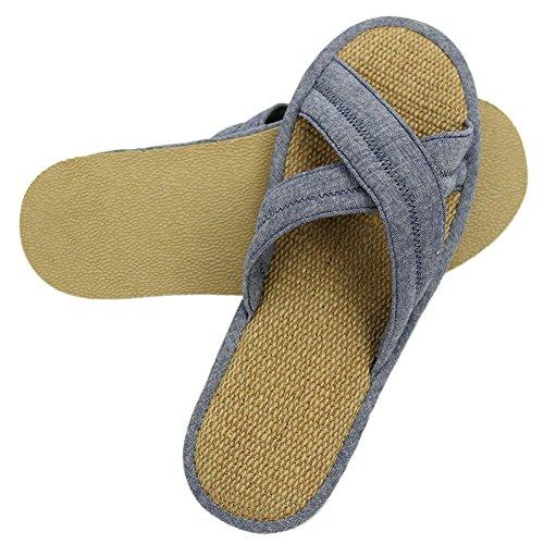 Zapatillas De Casa Con Cordones Para Hombres Con Cordones Y Punta Abierta Zapatillas De Casa Con Interior Antideslizante Azules
