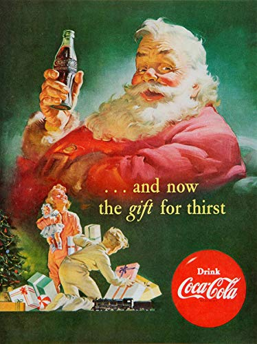 historic pictoric Coca Cola Santa Claus 1952 1958 | 24in x 18in Vintage Poster Print
