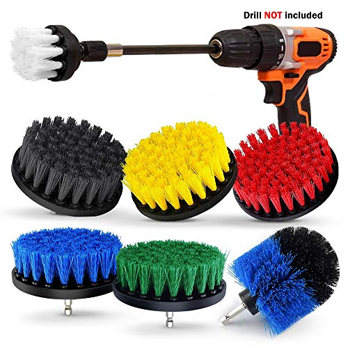 8 Piece Drill Brush Set, Extend Long Attachment, Scrub brush, All Purpose Power Scrubber Cleaning Kit for Grout, Tile…