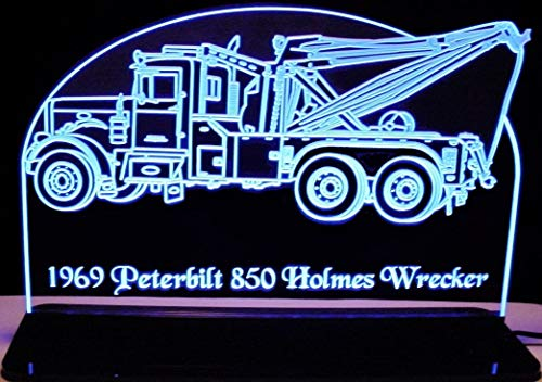 "ValleyDesignsND 1969 Wrecker Tow Truck Towing Hauling Holm Pblt 21"" Reflective Black Mirror Base 30 Led Acrylic Lighted Edge Lit Sign Light Up Plaque Full Size Made in The USA"