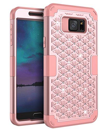 AdiWon Samsung Galaxy S7 Case Glitter Crystal Diamond Bling Rhinestone Three Layer Hybrid Shock Resistant Cover for Girls/Women,Rose Gold