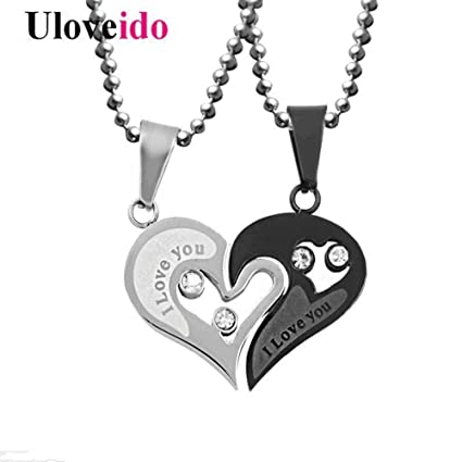 9c63a6bdd7 JuXinDa Stainless Steel Puzzle Pendant 2 Piece Mens Womens Friendship Yin  Yang Ucklace Pendant Couples Necklace