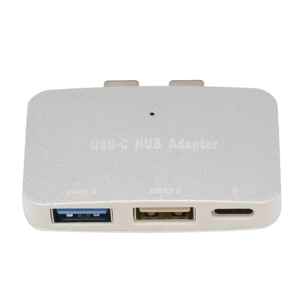 MagiDeal USB C Hub Multiport Adapter,Portable Combo Hub with USB C Charging Port USB 3.0/ USB 2.0 Ports for MacBook Pro Silver