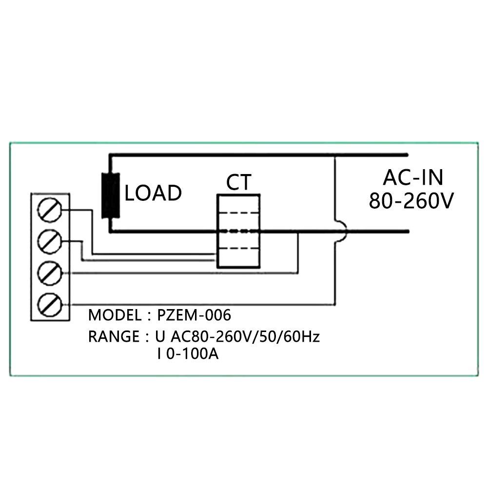 PEACEFAIR Voltager meter Digital AC 80-260V 100A Current Voltage Watt KWh Time Panel Meter Voltmeter + CT ,household voltmeter. by Hilitand (Image #5)