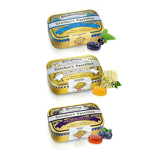 GRETHER'S Pastilles for Throat and Voice, 3 Flavor Pack, 110 g/3.75 oz Each