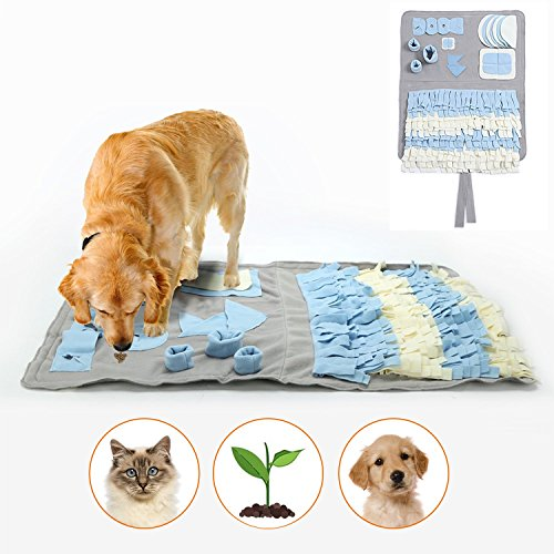 Snuffle Mat for Dogs Handmade Dog Training Mat Play Mat Dog Nosework Blanket Encourages Natural Foraging Skills (Border Lucky Train)