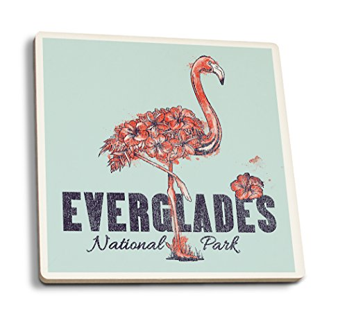 - Lantern Press Everglades National Park - Flamingo - Flowers (Set of 4 Ceramic Coasters - Cork-Backed, Absorbent)