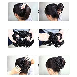 D-DIVINE Women's and Girl's Synthetic Hair Bun Extension (Black)
