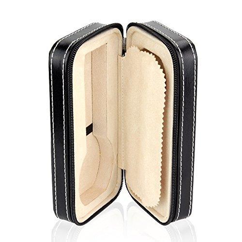 Steinhausen SA1801 Watch Case, Zippered Wallet Travel Case Holds 2 Watches, Luxurious Black Leatherette, Tan Interior, Travel Case