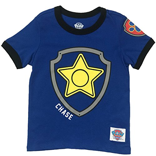 Nickelodeon Paw Patrol Ringer T- Shirt: Chase, Marshall, Rocky, Rubble, Zuma,Sky, Everest (Chase, 3T)