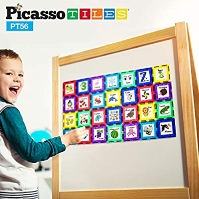 PicassoTiles 56 Piece Magnetic Building Blocks with 28pc Tiles and 28pc Educational Artwork Graphic Click-in Inserts Magnet Construction Toy Set STEM Learning Kit Playset Child Brain Development PT56: Toys & Games