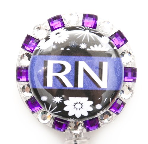 (STRIPED FLOWER RN BLING BADGE REEL, RHINESTONE BADGE REEL, RHINESTONE RETRACTABLE BADGE REEL, BLING ID BADGE HOLDER FOR NURSES, GIFT, GRADUATION, BIRTHDAY, OR CHRISTMAS. (PURPLE STRIPE FLOWER REEL))
