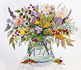 [Wooden Framed] DIY Painting, Paint by Number Kits for Adults – Flowers: Autumn Bouquet - Includes Brushes, Paints and Numbered Canvas – 16x20 Inch – Great for Kids and Adults – by Tsvetnoy