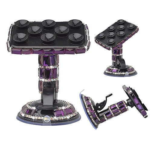 KAKA(TM) Universal Luxury Bling Handmade Purple Crystal Diamond Rhinestones Universal Multi-function Portable Rotating Suction Cup Mini Desk Car Mount Clip Stand Holder for Smartphones Mobile Phones