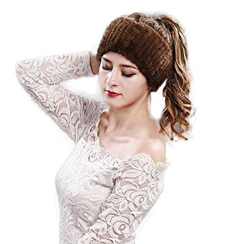Mink Fur Headband Scarf - Manka Vesa Mink Fur Headband - Women Knit Winter Earwarmer Earmuff Real Fur Head wrap Scarf Hat Coffee