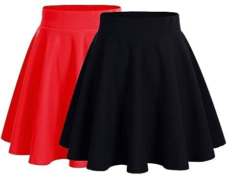 Dresstells Damen Basic Solide Vielseitige Dehnbar Informell Mini Glocken Rock