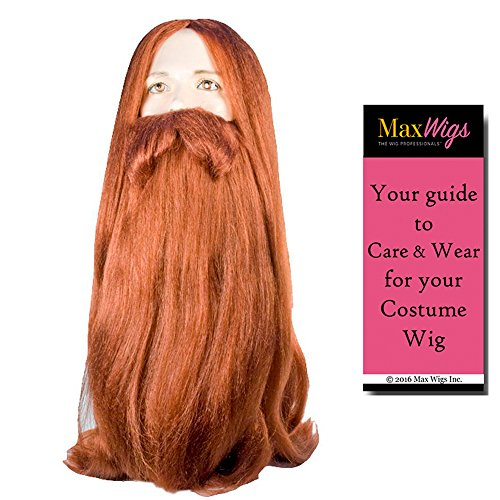 Bundle 2 items: Bargain Viking Long Norse Beard and Wig Set Train Dragon Iceland Danish Tribe Elder Men's Auburn Wig Lacey Wigs, MaxWigs Costume Wig Care Guide