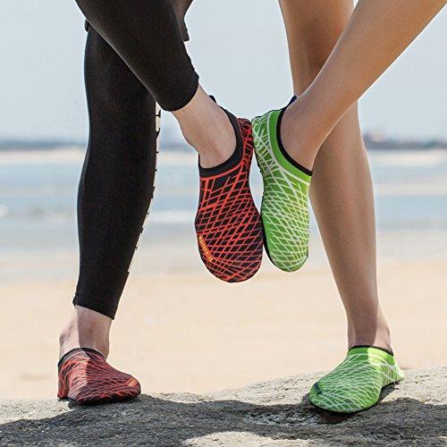 MAYZERO Men Women Water Shoes Barefoot Skin Shoes Quick Dry Aqua Socks Shoes For Beach Pool Swim Surfing Boating Yoga Green&white tw2Gh