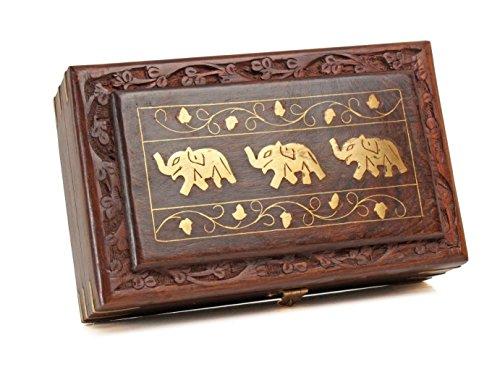 Christmas Thanksgiving Gifts Decorative Wooden Jewelry Trinket Holder Keepsake Storage Box Organizer with Intricately Hand Carved Elephant Brass Inlay & Velvet Interior