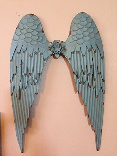 Large Beautiful Distressed Style Metal Turquoise Green Angel Wings Home Wall Decor ~ 26