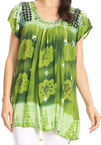Sakkas 43614 - Short sleeve tie dye gingham peasant top with sequin embroidery - Green - OSP
