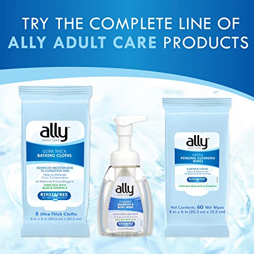 5133bPdtHNL - Ally Rinse-Free Ultra-Thick Adult Bathing Cloths, Microwaveable and Hypoallergenic, 96 Count (12 Packs of 8 Wipes)