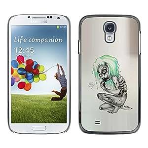 // PHONE CASE GIFT // Duro Estuche protector PC Cáscara Plástico Carcasa Funda Hard Protective Case for Samsung Galaxy S4 / Goth Emo Zombie /