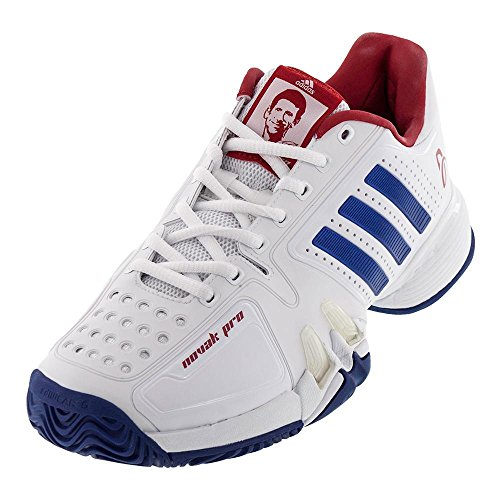 Adidas Barricade Novak Pro Men's Tennis Shoe White/Blue/Red, 7.5 (Pro Mens Shoes Tennis)