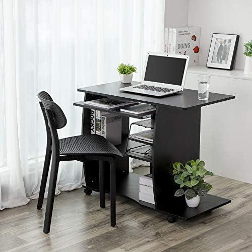 VASAGLE Mesa de Ordenador con Portateclado, 4 Ruedas, Escritorio ...