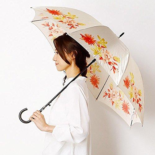 ミラショーン(雑貨)(mila schon) 雨傘(長傘/ジャンプ)【風に強い/耐風】花柄(婦人/レディース) B07DH9H5H1 **|21ベージュ 21ベージュ **