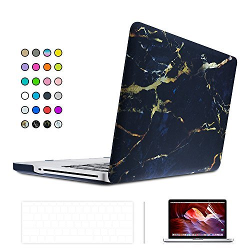 "ICE FROG Rubberized Coated Case Cover +Keyboard Protective Skin + LCD Screen Protector for MacBook Air 11"" 11.6 inch - Marble Black/Gold"