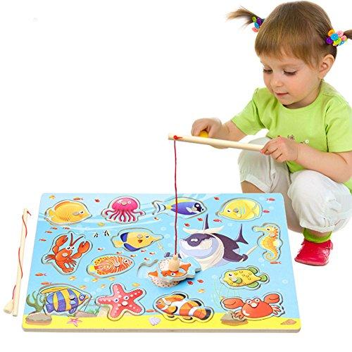 XuBa 子供の木製磁気釣りおもちゃ 2釣り竿 教育パズルおもちゃ かわいい遊び場おもちゃ ギフト