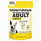 SmartyPaws Dog Supplement Chew- Glucosamine & Chondroitin + MSM for Joint Support, Fish Oil Omega 3 (EPA & DHA), Probiotics, Organic Turmeric: Adult Medium Breed – by SmartyPants Vitamins – 60 ct