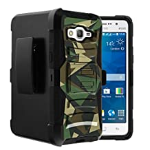 Samsung Galaxy Grand Prime Case | Samsung GO Prime Holster Case [Heavy Duty Clip] Dual Layer Hard Case with Kickstand and Holster Clip by Untouchble - Green Camo