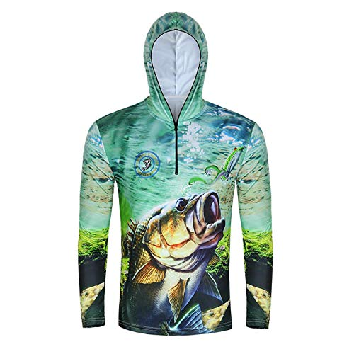 EASY BIG Long Sleeve Fishing Shirts Fishing Hoodie for Men and Women Fishing Apparel, UPF 50+ Green