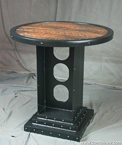Vintage Industrial Bistro Table. Industrial Round Table. Reclaimed Wood