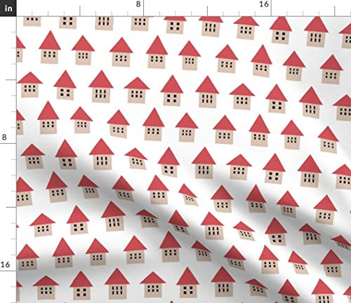 House Fabric - Petite Houses Homes Village Red Roof Geometric Town Kids Folk Home Print on Fabric by The Yard - Sport Lycra for Swimwear Performance Leggings Apparel Fashion