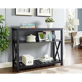 Black Finish 3 Tier Occasional Console Sofa Table Bookshelf X Design