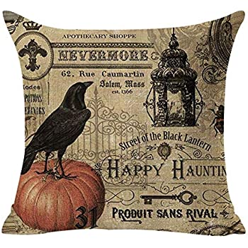 Royalours Throw Pillow Covers Halloween Garden Cotton Linen Vintage Halloween Pumpkin Crow and Owl Decorative Pillow Case Cushion Cover Pillowslip 18