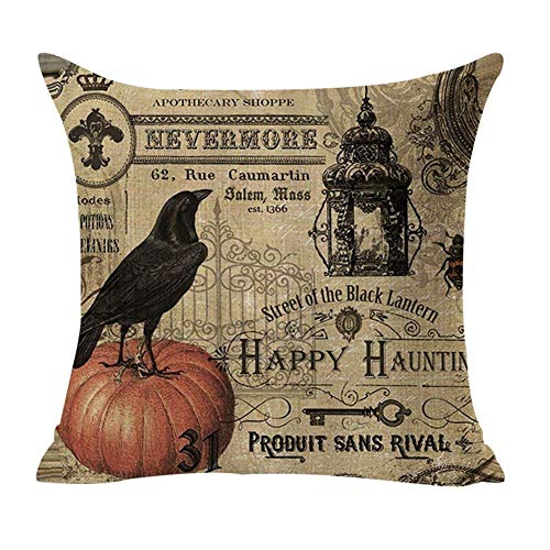Halloween 1 Cover (Royalours Throw Pillow Covers Halloween Garden Cotton Linen Vintage Halloween Pumpkin Crow and Owl Decorative Pillow Case Cushion Cover Pillowslip 18