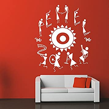 a3dfc35b0 Buy Kcwalldecals Inspiring Warli Dance Wall Decal - Size   24X28 Online at  Low Prices in India - Amazon.in