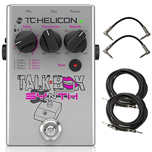 TC Helicon TalkBox Synth Guitar and Vocal Effects Processor Bundle with 4 Cables