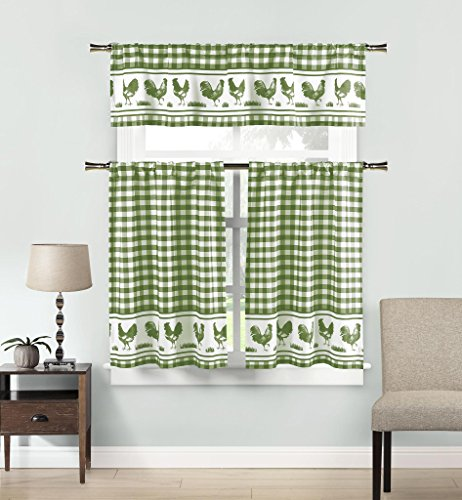Premium Insulated 3 Piece Kitchen Window Curtain Tier & Valance Set With Gingham Checkerer and Rooster Design - Assorted Colors | SAGE/WHITE