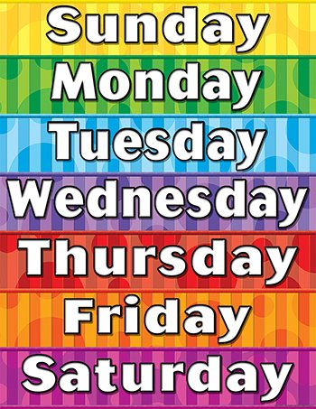 days of the week chart free printable