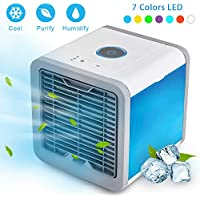 EOSAGA Air Cooler Personal Space USB Portable Air Conditioner, Mini Smart Humidifier Cooling Fan Quick Cooling with 7 Colors LED Lights for Household, Yoga, Work, Night light, Outdoor, Travel and more