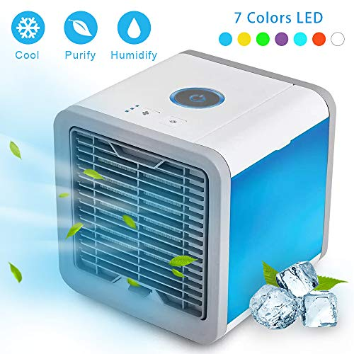 EOSAGA Air Cooler Personal Space USB Portable Air Conditioner, Mini Smart Humidifier Cooling Fan Quick Cooling with 7 Colors LED Lights for Household, Yoga, Work, Night light, Outdoor, Travel and more by EOSAGA