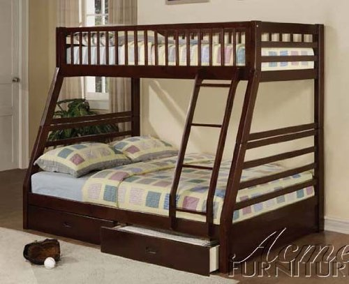 - Jason Espresso Twin Over Full Bunk Bed with Drawers