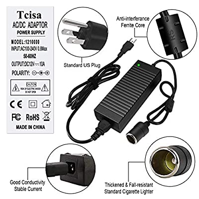 Tcisa AC to DC Converter - CE Certified 10A 120W 110V-240V to 12V Car Cigarette Lighter Socket AC DC Power Supply Adapter Worldwide Universal: Automotive